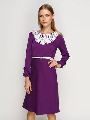 Платье фиолетовое с кружевной отделкой | 4492651