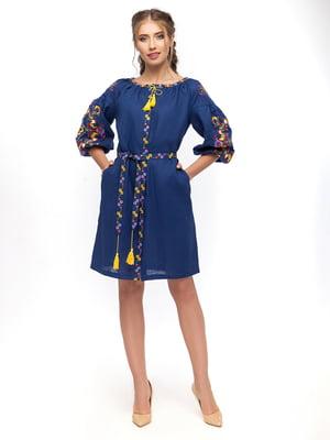 Платье синее с вышивкой   4505899