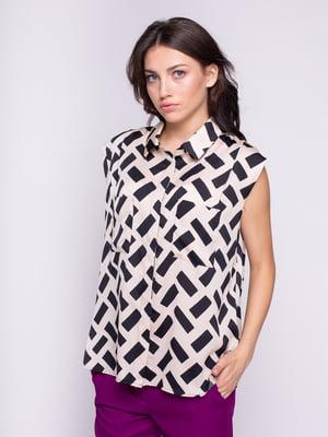 Блуза бежева з принтом | 4246876