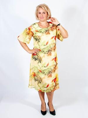 Платье молочное в цветочный принт | 4507165