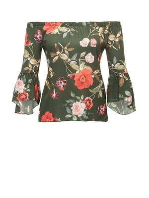 Блуза кольору хакі в принт | 4510997