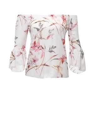 Блуза біла в принт | 4511001