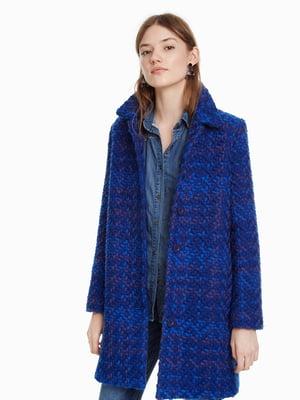 Пальто синее в рисунок | 4524242