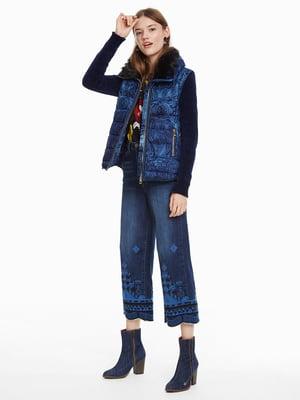 Куртка синяя с принтом | 4524254