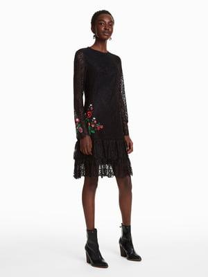 Платье черное кружевное с вышивкой | 4524335