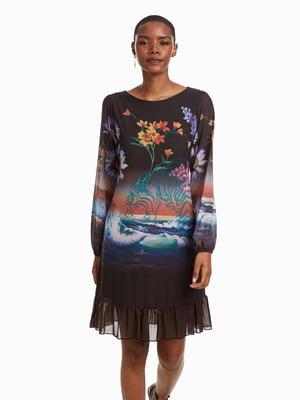 Платье серо-черное с принтом | 4524344