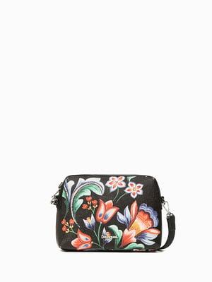 Сумка черная с цветочным принтом | 4524379