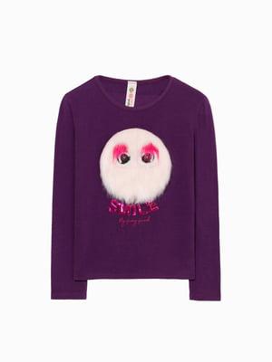 Лонгслив фиолетовый с декором   4524434