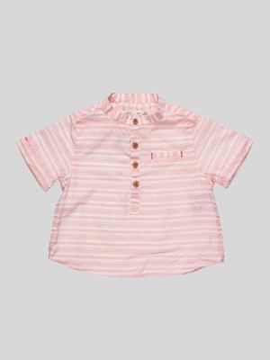 Сорочка молочно-рожевого кольору в смужку | 2456031