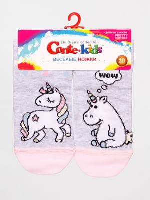 Шкарпетки сірі з принтом | 4139132
