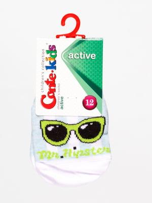 Шкарпетки блідо-бірюзові з принтом | 4465630
