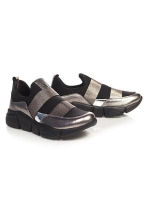 Кроссовки серебристо-черные | 4527689