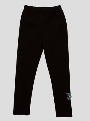 Брюки черные с вышивкой | 3908017