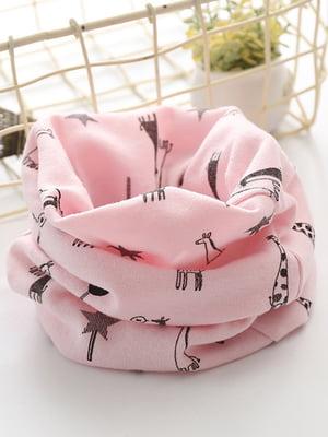 Шарф-снуд розовый в принт | 4538634