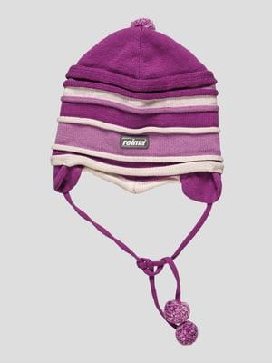 Шапка фиолетовая в полоску | 27961