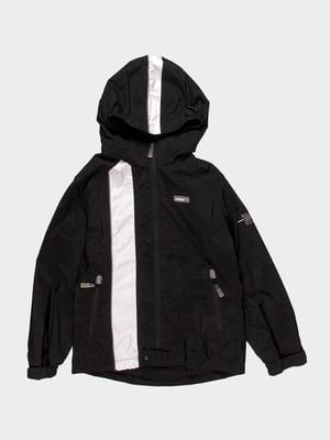 Куртка черная с контрастной полоской | 915967
