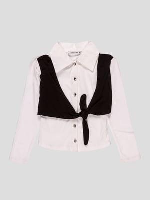 Рубашка белая со стилизованным жилетом | 2913311