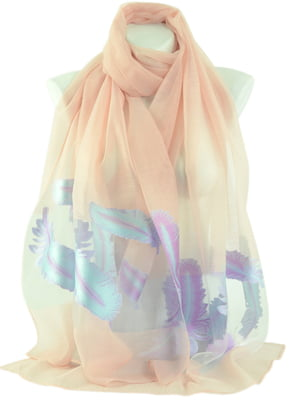 Шарф персикового цвета в принт | 4510487