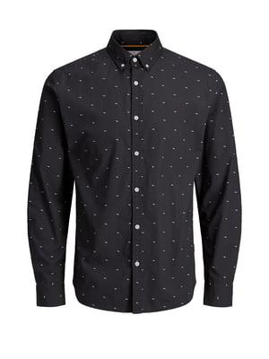 Рубашка темно-серая в принт | 4472264