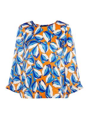 Блуза оранжевая в принт | 4472553