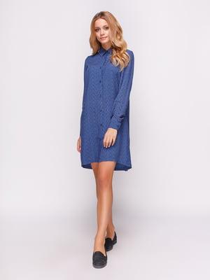 Платье-рубашка синее в цветы | 4547653