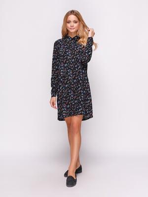 Платье-рубашка черное в принт   4547654