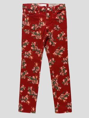 Штани червоні в квітковий принт | 4508037