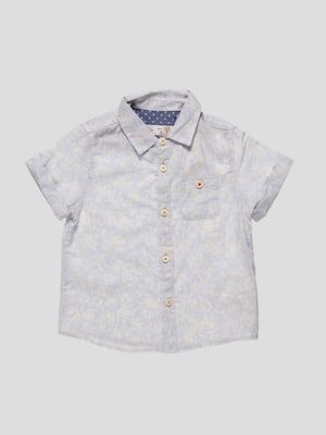 Рубашка голубая в принт | 4507542