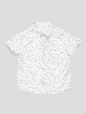 Сорочка біла в принт | 4519722