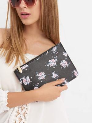Клатч черный в цветочный принт | 4554795