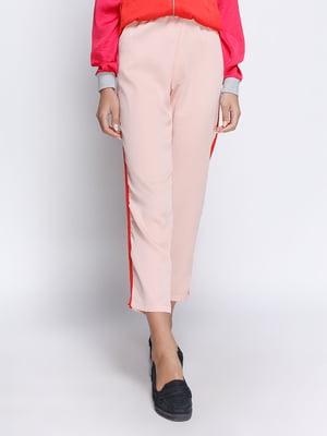 Штани рожеві з контрастними лампасами | 4510548