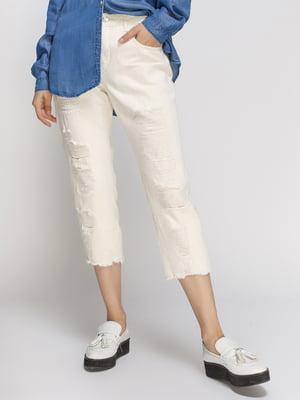 Капри молочного цвета джинсовые | 4507370