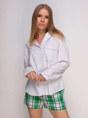 Рубашка серая в полоску домашняя | 4506117