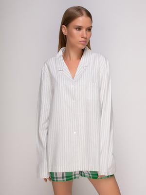 Рубашка серая в полоску домашняя | 4506856