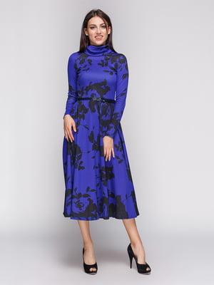 Платье синее с цветочным принтом | 3263559