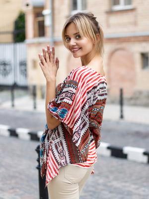 Блуза в разноцветный принт | 2992371