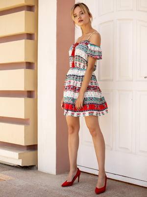 Платье белое в принт | 2992437