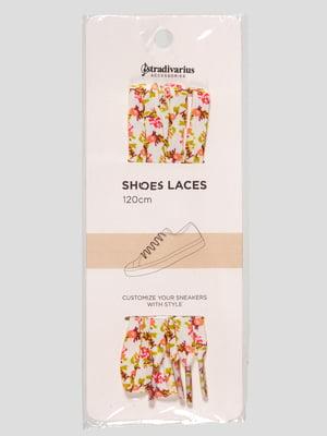 Шнурки білі в квітковий принт | 4519590