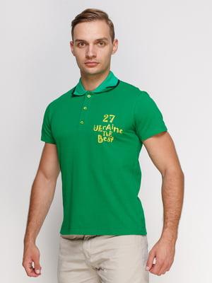 Футболка-поло зелена з принтом | 4578507