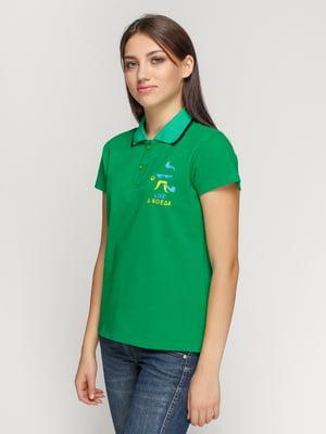 Футболка-поло зеленая с принтом | 4578485