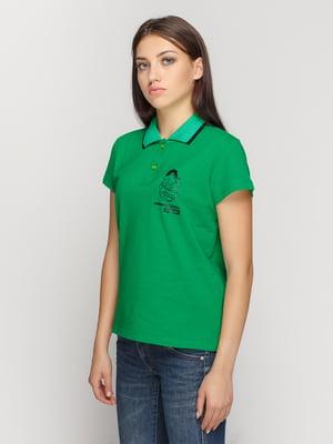 Футболка-поло зеленая с принтом | 4578471