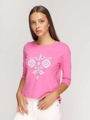 Лонгслив розовый с принтом   4578143