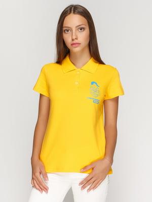 Футболка-поло желтая с принтом | 4578479