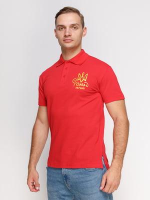 Футболка-поло красная с принтом | 4578514