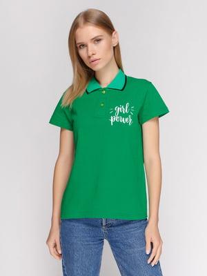 Футболка-поло зеленая с принтом | 4578612
