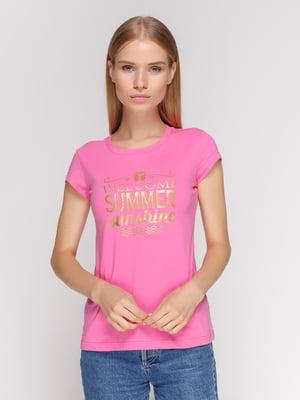 Футболка рожева з принтом | 4578078
