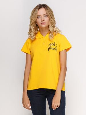 Футболка-поло желтая с принтом | 4578610