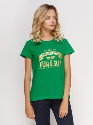 Футболка зеленая с принтом | 4577963