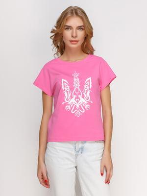 Футболка розовая с принтом | 4578219