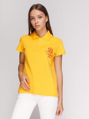Футболка-поло желтая с принтом | 4578491